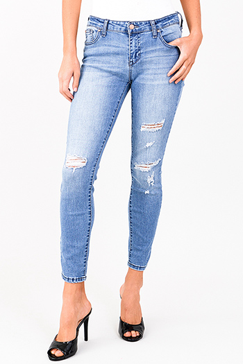 $15 - Cute cheap blue washed denim mid rise distressed destroyed chewed hem ankle fit skinny jeans - light blue washed denim mid rise distressed ripped fitted skinny jeans