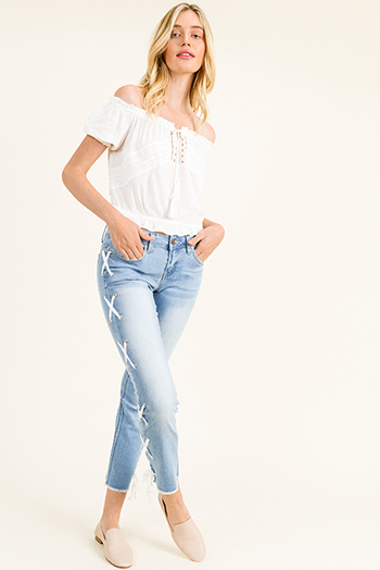 $25 - Cute cheap blue washed denim zip up pocketed boho pencil jean skirt - Light blue washed denim mid rise laceup side frayed hem cropped boho straight leg jeans