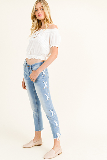 $18 - Cute cheap dark blue washed denim button up pocketed frayed hem crop jean jacket - Light blue washed denim mid rise laceup side frayed hem cropped boho straight leg jeans