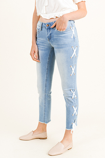 $19 - Cute cheap white denim mid rise distressed pearl studded frayed boho cutoff embellished jean shorts - Light blue washed denim mid rise laceup side frayed hem cropped boho straight leg jeans