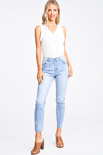 $25 - Cute cheap blue washed denim mid rise distressed destroyed chewed hem ankle fit skinny jeans - Light blue washed denim mid rise raw hem fitted boho skinny jeans