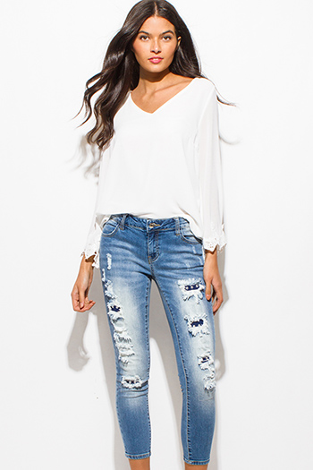 $20 - Cute cheap blue denim skinny jeans - light blue washed denim mid rise ripped distressed patch studded cropped skinny jeans