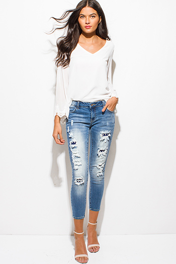 $20 - Cute cheap clothes - light blue washed denim mid rise ripped distressed patch studded cropped skinny jeans