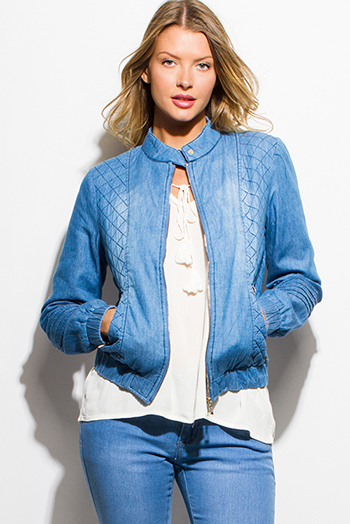 $20 - Cute cheap blue washed denim button up high waisted retro mini skirt - light blue washed denim quilted long sleeve zip up pocketed moto jean jacket