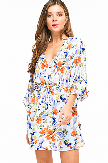 $20 - Cute cheap open back wrap jumpsuit - Light blue watercolor floral print kimono sleeve v neck faux wrap boho mini dress