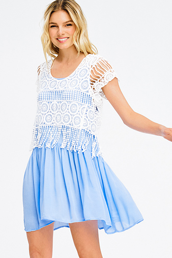 $10 - Cute cheap blue washed denim low rise pearl studded distressed frayed chewed hem boho skinny jeans - light blue white crochet short sleeve fringe trim tiered boho mini sun dress