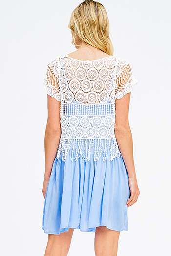 $15 - Cute cheap blue washed chambray sleeveless button up flare skater mini shirt dress - light blue white crochet short sleeve fringe trim tiered boho mini sun dress