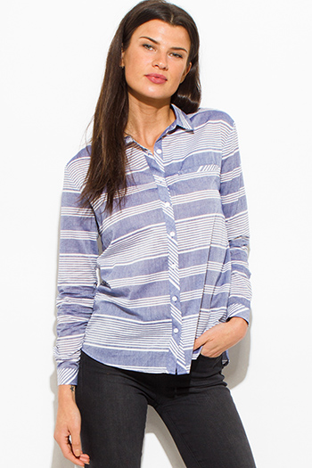 $15 - Cute cheap navy blue plaid cotton gauze quarter sleeve button up blouse top - light blue white striped cotton button up blouse top