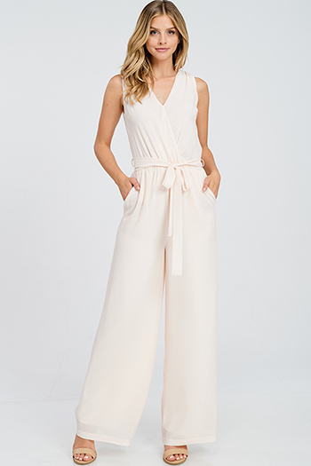 $20 - Cute cheap v neck slit jumpsuit - Light blush peach chiffon sleeveless surplice tassel tie back wide leg pocketed boho evening jumpsuit