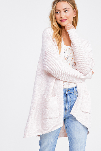 $25 - Cute cheap white denim a line high waisted fitted pocketed boho flare overalls jumpsuit - Light blush pink boucle sweater knit ribbed sleeve pocketed open front boho cardigan top
