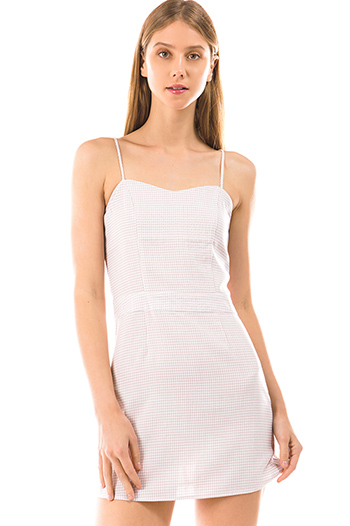 $25 - Cute cheap open back fitted sexy party catsuit - light blush pink gingham print sleeveless smocked pencil fitted mini dress