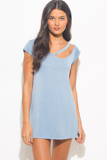 $15 - Cute cheap blue washed chambray sleeveless button up flare skater mini shirt dress - light dusty blue ripped cut out neckline boyfriend tee shirt tunic top mini dress
