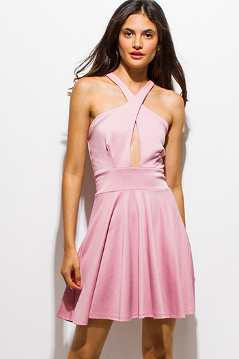 $15 - Cute cheap light beige chiffon pleated sleeveless sash belted bejeweled formal midi dress - light dusty pink wrap front halter a line cut out back skater sexy party cocktail mini dress