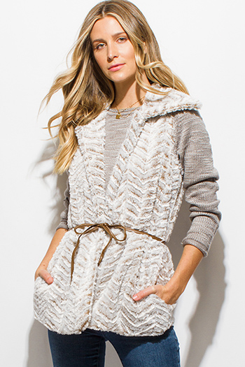$20 - Cute cheap charcoal gray two toned open front faux fur trim hooded pocketed sweater knit cardigan top - light gray chevron faux fur belted pocketed coat vest top