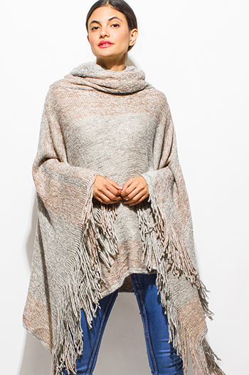 $40 - Cute cheap gray two tone chunky knit button up cowl neck long dolman sleeve boho pocketed sweater top - light gray color block metallic lurex fringe trim cowl neck sweater knit boho poncho tunic top