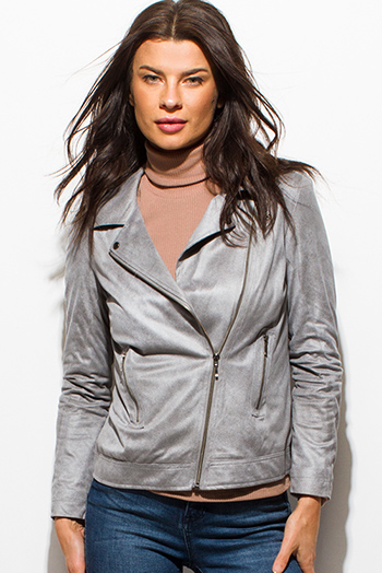 $20 - Cute cheap black sheer stripe mesh contrast asymmetrical zip up moto blazer jacket top 1461019250020 - light gray faux suede asymmetrical zip up pocketed moto jacket