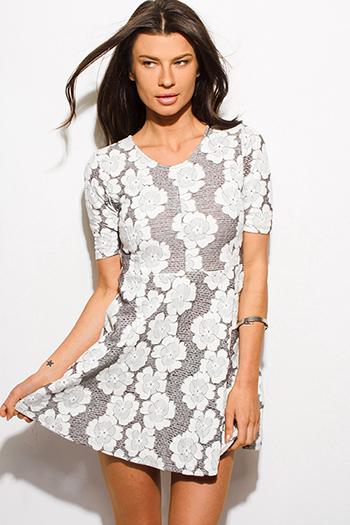 $15 - Cute cheap white bejeweled cocktail dress - light gray floral half sleeve cocktail sexy party boho skater mini dress
