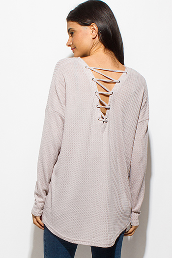 $15 - Cute cheap nude beige mesh inset cut out cold shoulder sexy clubbing crop top - light gray long sleeve boat neck laceup back thermal knit boho top