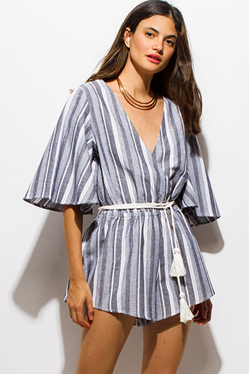 $15 - Cute cheap gray poncho - light gray nautical striped wide sleeve wrap front tassel waist tie boho romper playsuit jumpsuit