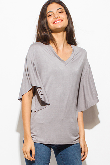 $15 - Cute cheap nude beige mesh inset cut out cold shoulder sexy clubbing crop top - light gray rayon jersey v neck short flutter sleeve boho tee top