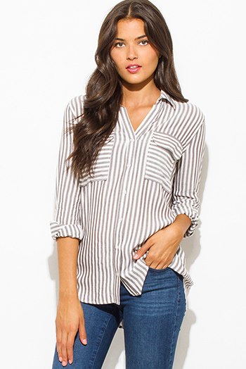 $20 - Cute cheap white ruffle crop top - light gray white stripe print quarter sleeve button up pocket front blouse top