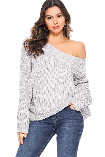 $25 - Cute cheap khaki boho sweater - Light grey chenille knit off shoulder long sleeve boho sweater top