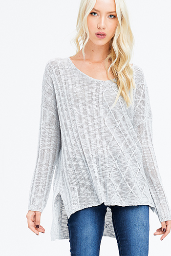 $15 - Cute cheap black crochet lace overlay fringe trim top - light grey crochet knit long sleeve scoop neck off shoulder boho sweater knit top