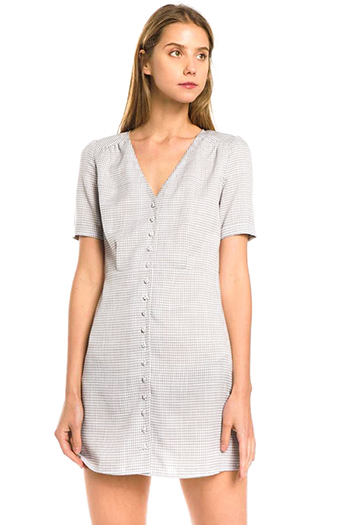$35 - Cute cheap pocketed boho mini dress - light grey gingham print v neck short sleeve button up mini shirt dress
