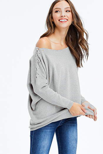$25 - Cute cheap white and blue tie dye print long dolman sleeve button up boho blouse top - light grey laceup off shoulder long dolman sleeve boho sweater knit top