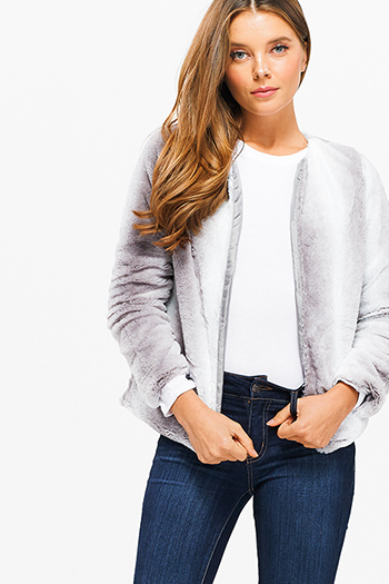 $25 - Cute cheap print fringe jacket - light grey ombre faux fur long sleeve collarless open front cropped boho sexy party coat jacket