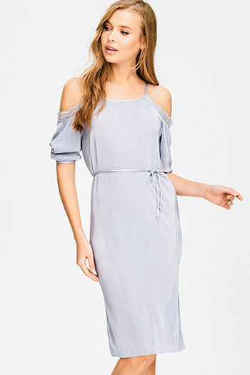 $12 - Cute cheap satin shift dress - light grey silver cold shoulder tie waist micro pleat lace trim pencil fitted sexy party midi dress