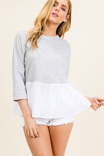 $15 - Cute cheap print ruffle crop top - Light grey striped quarter sleeve contrast peplum ruffle tiered hem boho top