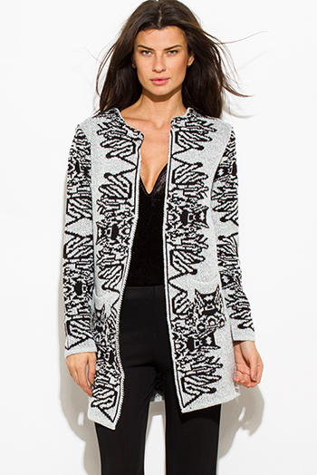 $25 - Cute cheap black sexy club sweater - light heather gray black abstract print acrylic open front pocketed sweater knit long cardigan