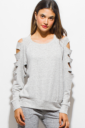$15 - Cute cheap clothes - light heather gray cut out long sleeve sweatshirt top