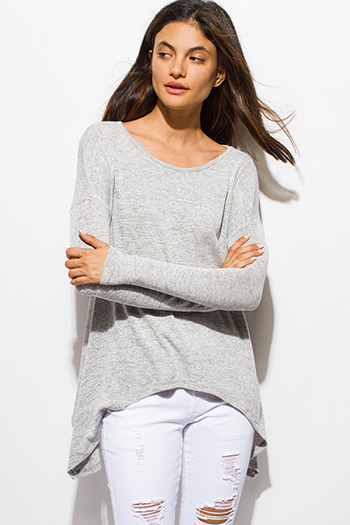 $15 - Cute cheap backless tank top - light heather gray long sleeve asymmetrical hem boho sweater knit top