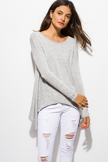 $15 - Cute cheap lace sheer long sleeve top - light heather gray long sleeve asymmetrical hem boho sweater knit top