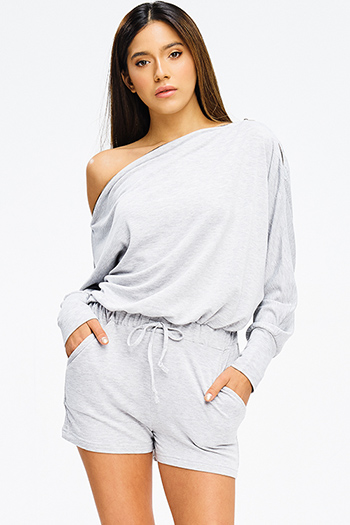 $15 - Cute cheap stripe bodycon sexy party jumpsuit - light heather gray off shoulder zipper neckline long sleeve drawstring pocketed lounge romper jumpsuit