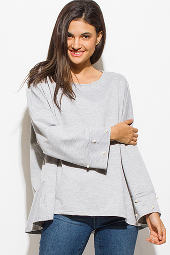 $15 - Cute cheap black ruffle long bell sleeve v neck a line cocktail party sexy club mini dress - light heather gray pearl studded long bell sleeve boho party oversized knit top