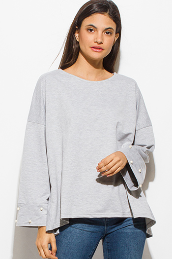 $15 - Cute cheap one shoulder boho top - light heather gray pearl studded long bell sleeve boho sexy party oversized knit top