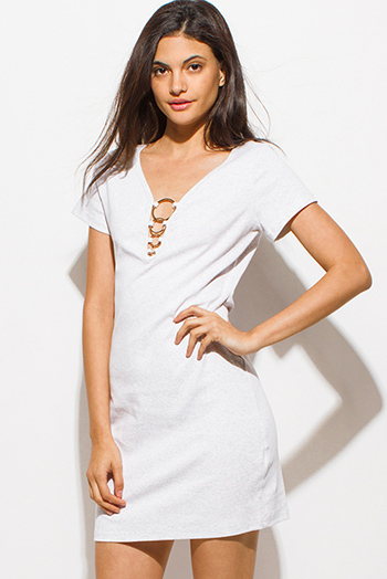 $15 - Cute cheap gold metallic mesh bejeweled backless formal evening cocktail party maxi dress - light heather gray short sleeve cut out caged hoop detail sexy club mini shirt dress