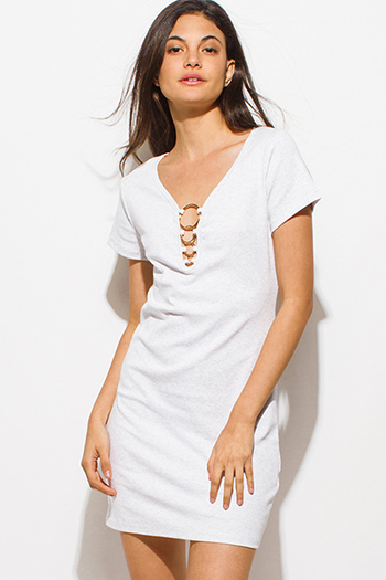 $12 - Cute cheap black ribbed knit jersey strappy halter backless party midi dress - light heather gray short sleeve cut out caged hoop detail sexy club mini shirt dress