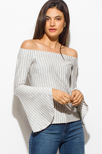 $15 - Cute cheap asymmetrical tank top - light heather gray striped off shoulder long trumpet bell sleeve boho top