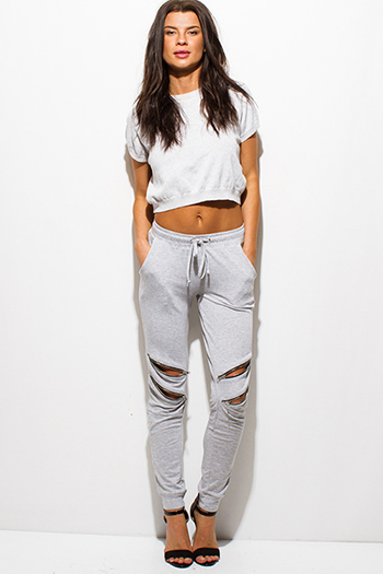 $15 - Cute cheap clothes - light heather gray zipper cut out drawstring pocketed lounge harem jogger sweat pants