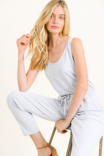 $20 - Cute cheap black linen mid rise tie waisted pocketed resort boho shorts - Light heather grey sleeveless drawstring tie waist pocketed harem jogger jumpsuit
