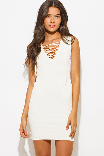 $15 - Cute cheap lace crochet sexy club dress - light ivory cream beige ribbed knit laceup sleeveless fitted bodycon club sweater mini dress