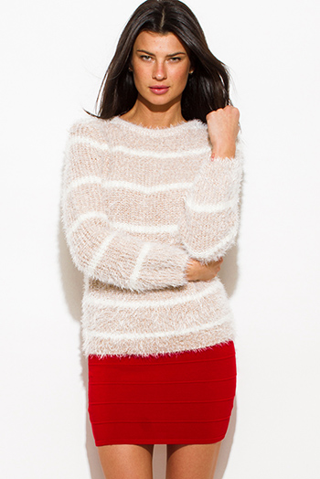 $15 - Cute cheap cotton bodycon top - light khaki beige cotton blend stripe textured long sleeve fuzzy sweater knit top
