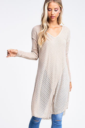 $15 - Cute cheap gray crew neck ruffle half petal sleeve ribbed knit trim boho sweater top - Light khaki tan sheer ribbed knit long sleeve boho tunic midi dress