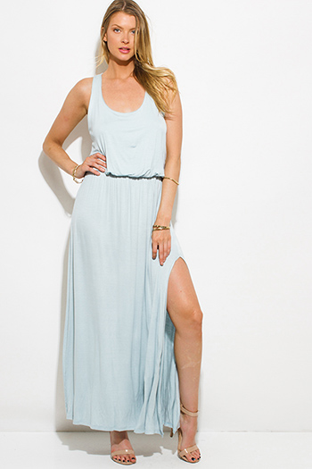 $20 - Cute cheap dark blue denim high waisted button up boho midi skirt - light mint blue sleeveless racer back high slit evening boho maxi sun dress