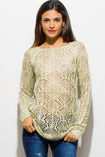 $15 - Cute cheap white v neck semi sheer chiffon crochet cut out blouson long sleeve boho blouse top - light mint green boat neck long sleeve sheer crochet sweater knit top