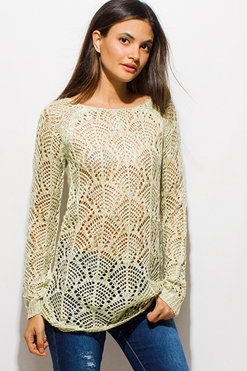 $15 - Cute cheap gauze cotton crochet top - light mint green boat neck long sleeve sheer crochet sweater knit top